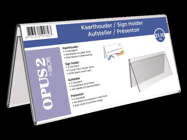 KAARTHOUDER OPUS 2 V-STANDAARD 21X10CM ACRYL