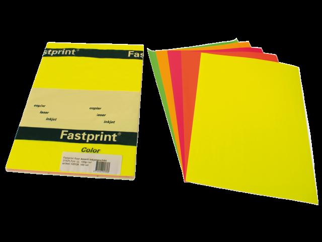 Kopieerpapier fastprint a4 90gr fluor assorti 100vel