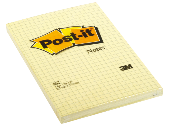 Memoblok 3m post-it 662 102x152mm geel ruitjes