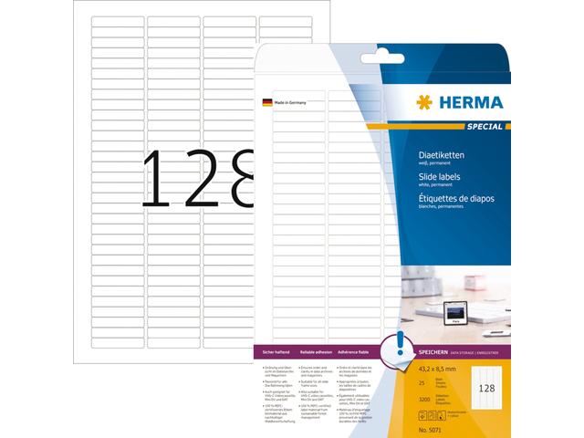 ETIKET HERMA 5071 43.2X8.5MM DIA A4 3200ST WIT