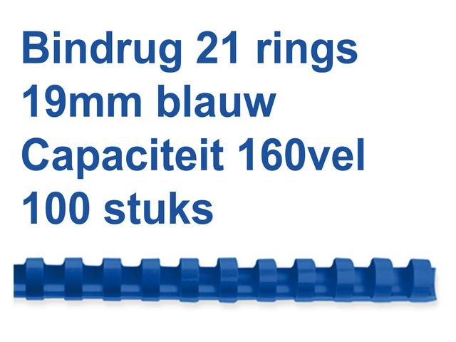 BINDRUG GBC 19MM 21RINGS A4 BLAUW