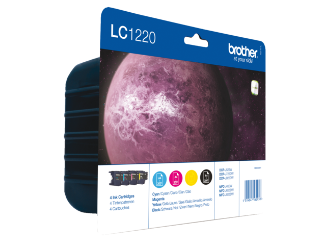 Inkcartridge brother lc-1220valbp zwart+3 kleuren