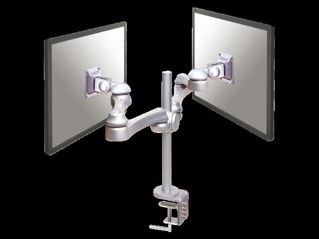 Flatscreenarm newstar d930d 2 schermen zilvergrijs