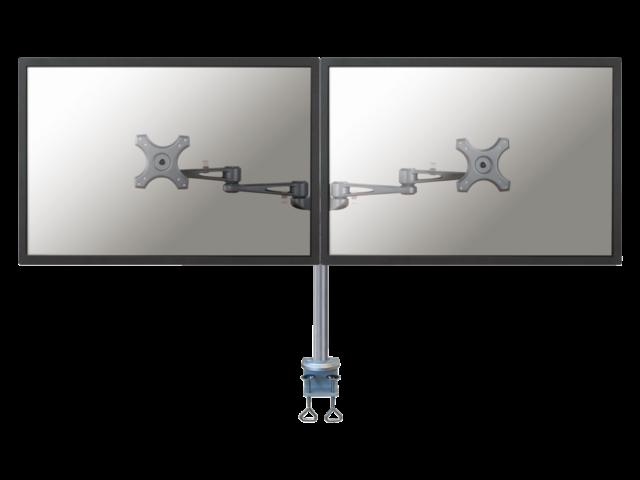 Flatscreenarm newstar d935d 2 schermen met bureauklem zilver