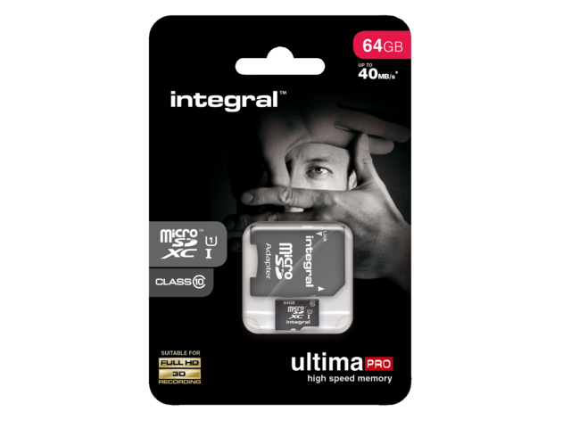 Geheugenkaart integral micro sdxc class10 +adapter 64gb