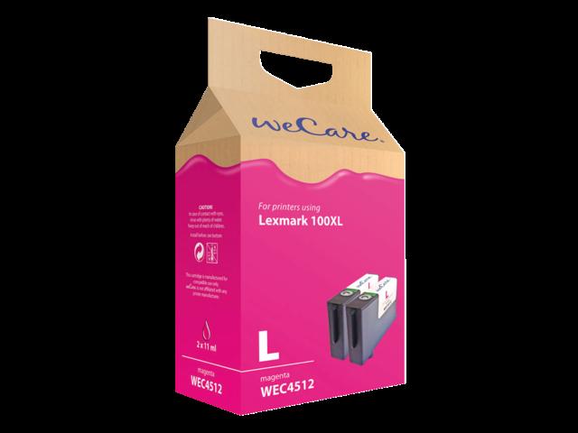 Inkcartridge wecare lexmark 14n1070 100xl 2x rood