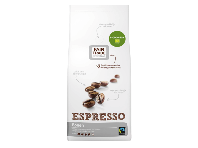 Koffie fair trade original espresso bonen bio 1000gr
