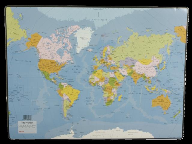 Onderlegger esselte 40x53cm met wereldkaart