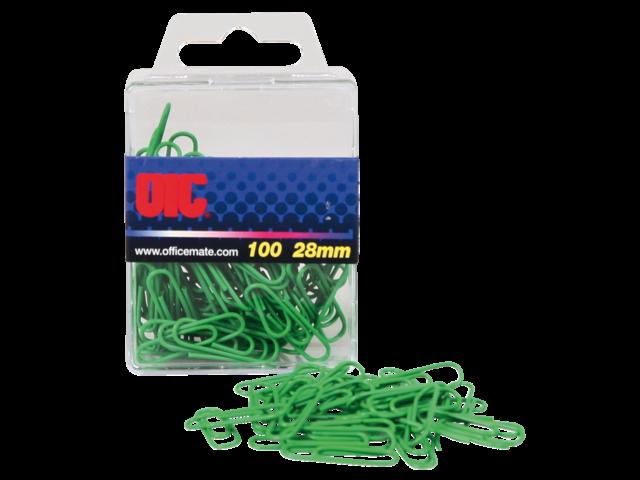 Paperclip oic 28mm rond 100stuks groen gelamineerd