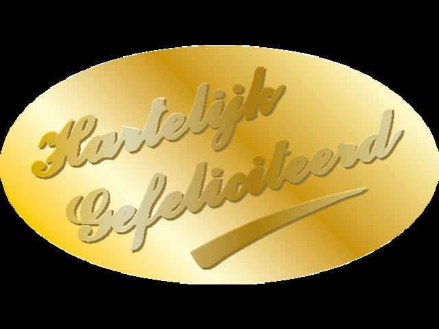 Etiket haza harelijk gefeliciteerd goud