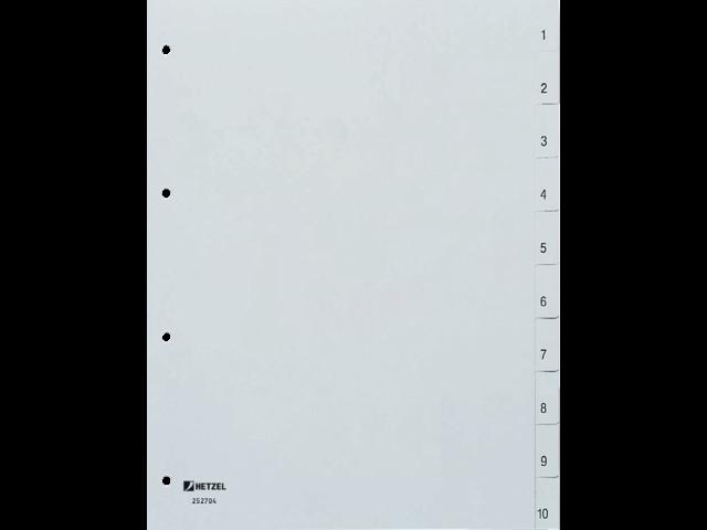 Tabbladen hetzel 4-gaats 10-delig 1-10 genummerd grijs pp