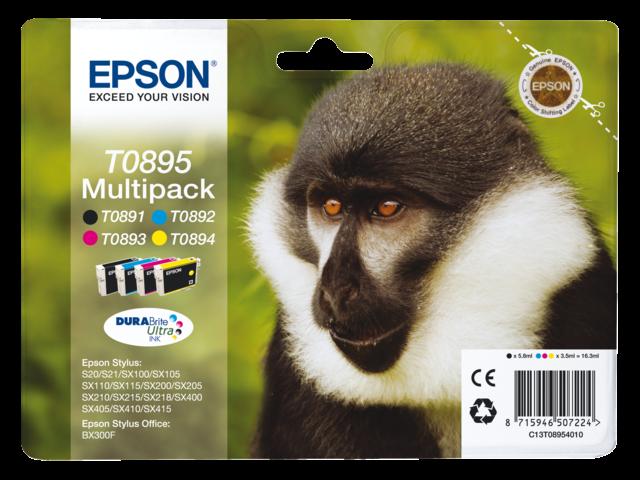 Inkcartridge epson t089540 zwart+3 kleuren