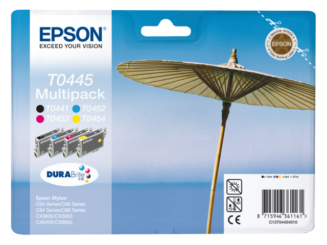 Inkcartridge epson t044540 zwart+3 kleuren