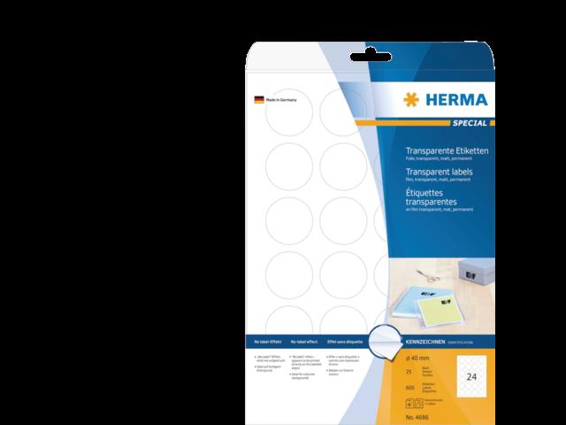 Etiket herma 4686 40mm rond transparant 600stuks