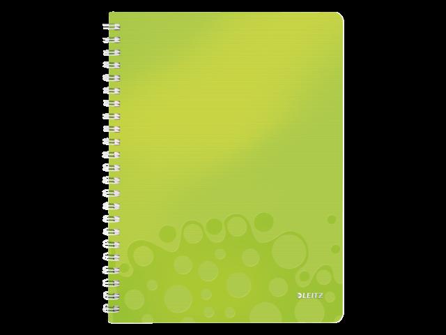 Notitieboek leitz wow a4 spiraal pp lijn groen