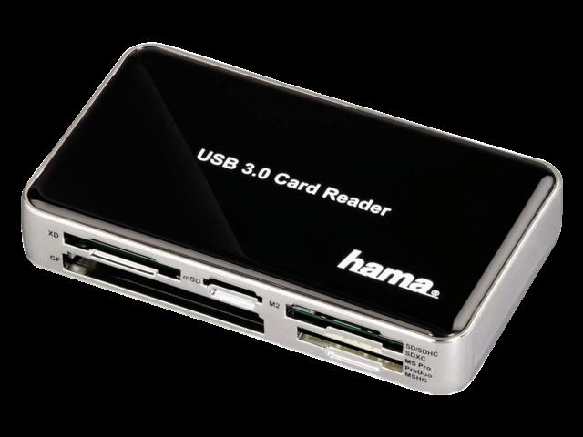 CARDREADER HAMA USB 3.0 ALL-IN-ONE ZWART