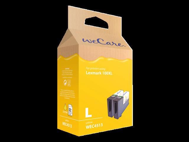 Inkcartridge wecare lexmark 14n1071 100xl 2x geel
