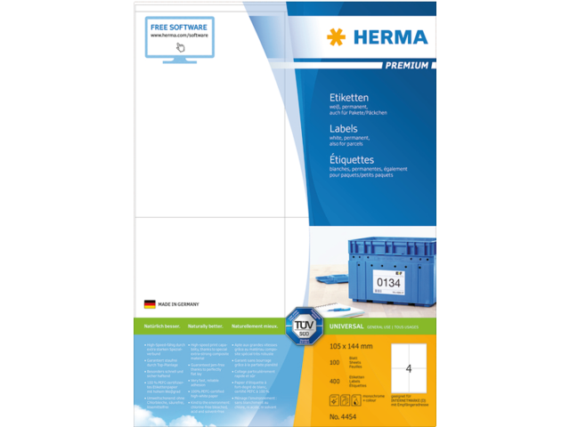 ETIKET HERMA 4454 105X144MM PREMIUM A4 400ST