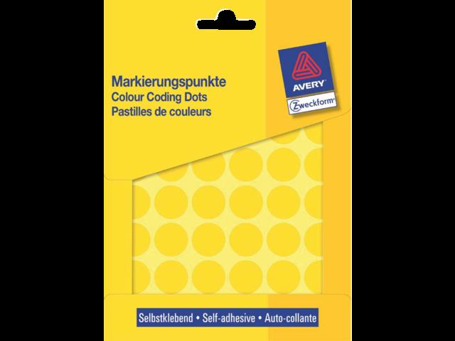 Etiket avery zweckform 3377 rond 18mm geel 1056stuks