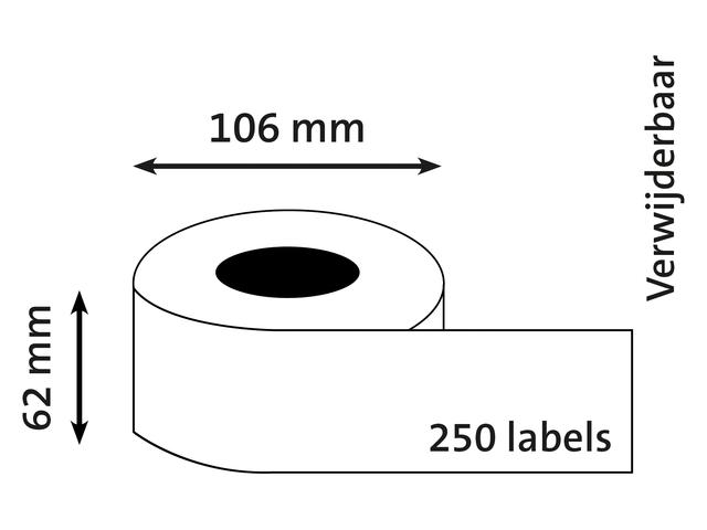 L-ETIKET DYMO 92911 62X106 WT