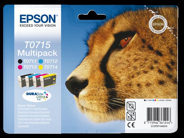 Inkcartridge epson t071540 zwart+3 kleuren