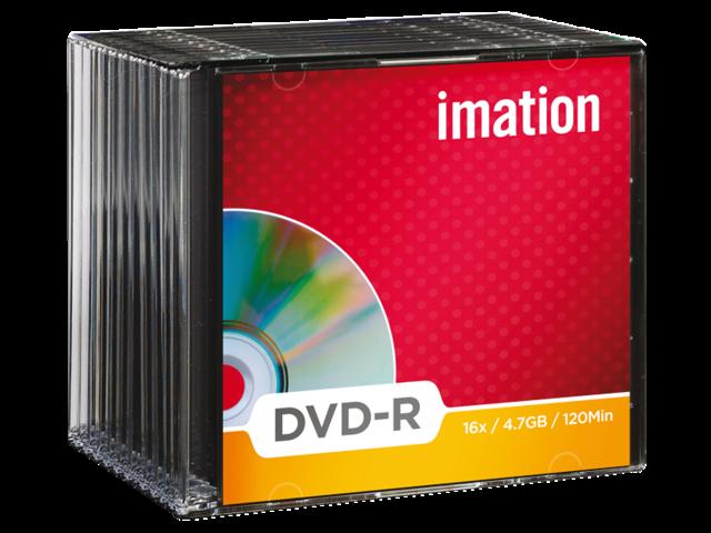Dvd-r imation 16x4.7gb slimline 10stuks