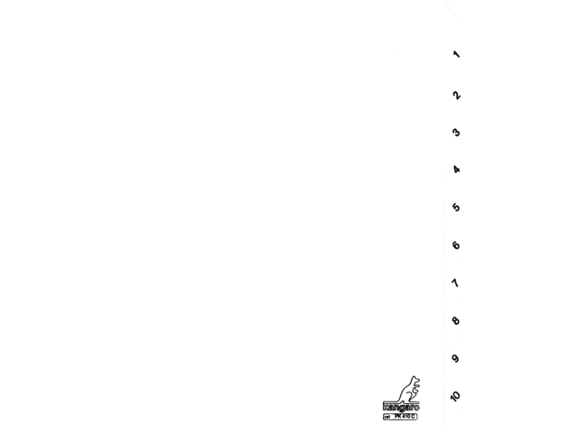 Tabbladen kangaro 4-gaats pk410c 1-10 genummerd wit karton