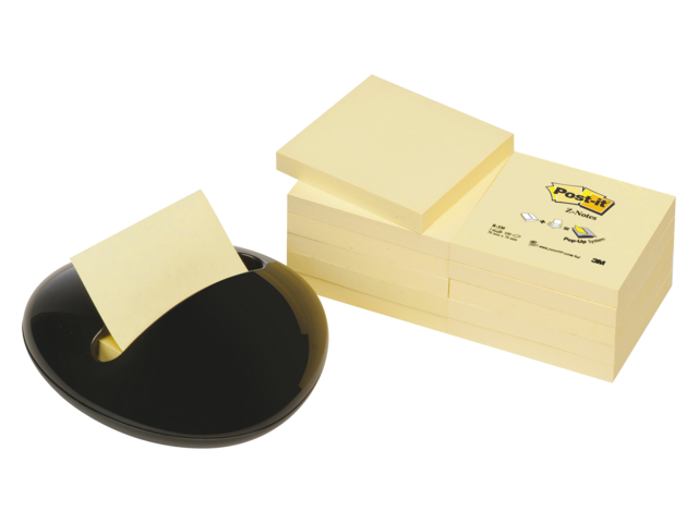 Memoblokdispenser 3m post-it z-notes pbl zwart +12 blok geel