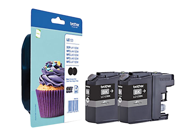 Inkcartridge brother lc-123bkbp2 zwart 2x