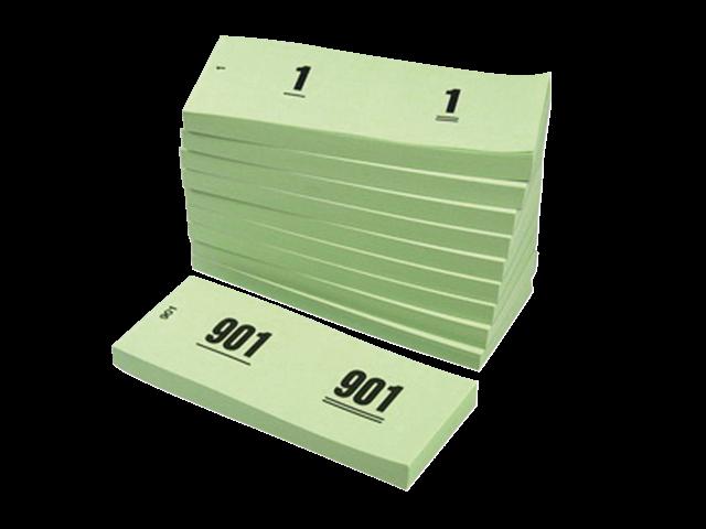 NUMMERBLOK 42X105MM NUMMERING 1-1000 GROEN 10STUK