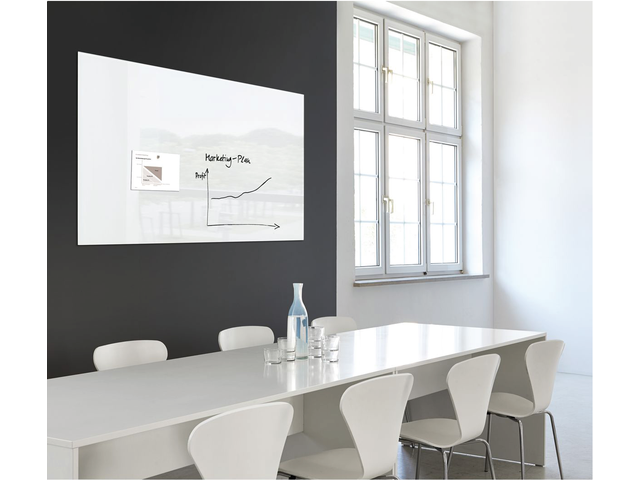 Glasbord sigel magnetisch 1200x900x18mm wit