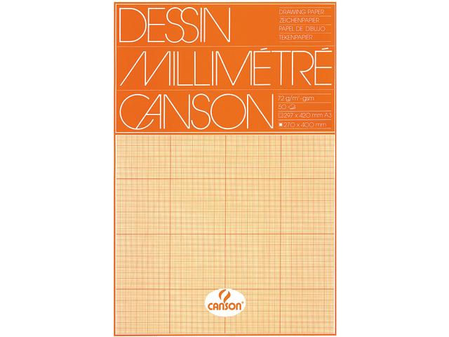 MILLIMETERBLOK CANSON A3 90GR LICHTBRUIN