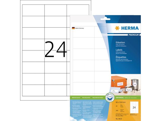 Etiket herma 8633 66x33.8mm premium wit 240stuks