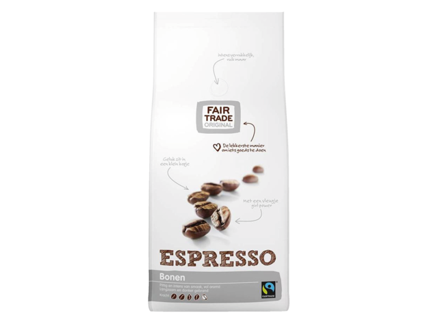 Koffie fair trade original espresso bonen 1000gr
