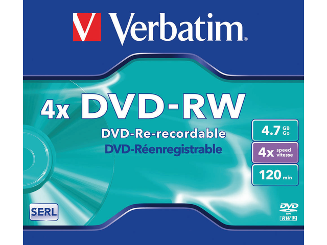 DVD-RW VERBATIM 4.7GB 4X 5PK JC