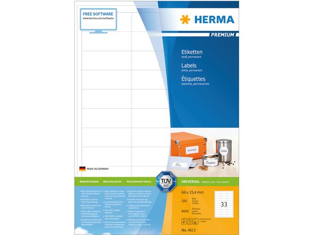 ETIKET HERMA 4613 66X25.4MM PREMIUM A4 6600ST
