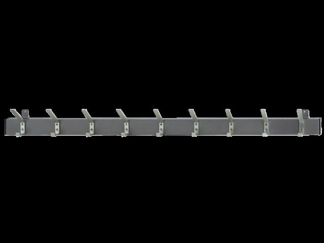 Kapstok wandprofiel met 9 dubbele haken zwart
