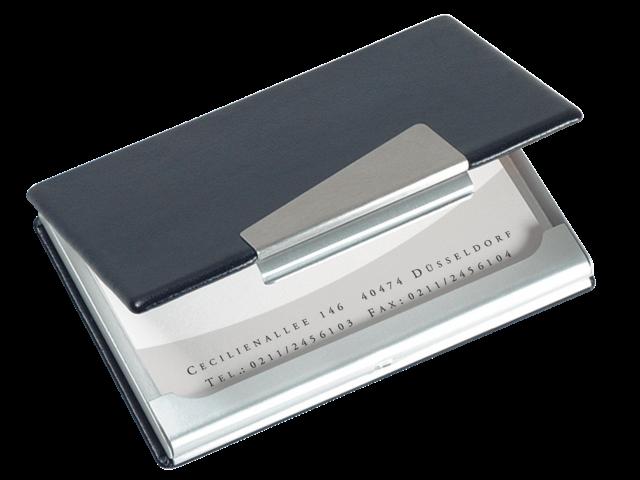 Visitekaartenhouder sigel vz131 aluminium/leer