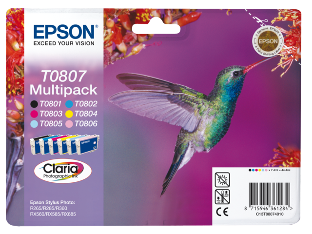 Inkcartridge epson t080740 zwart+5 kleuren