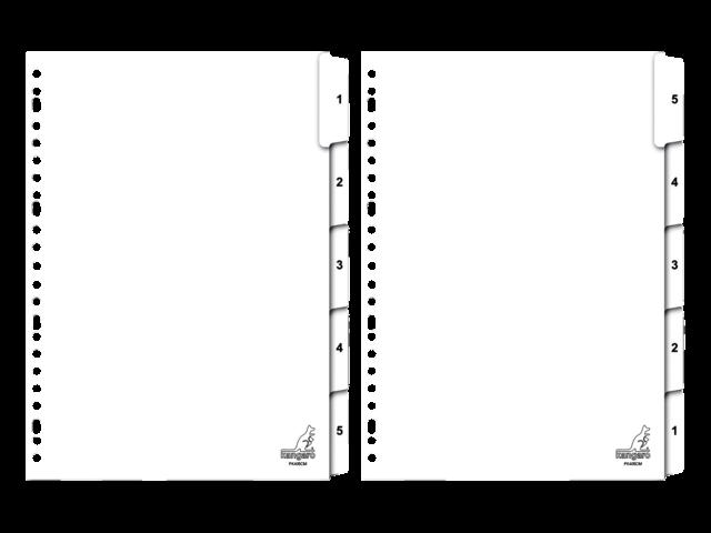 Tabbladen kangaro 23-gaats pk405cm 1-5 genummerd karton