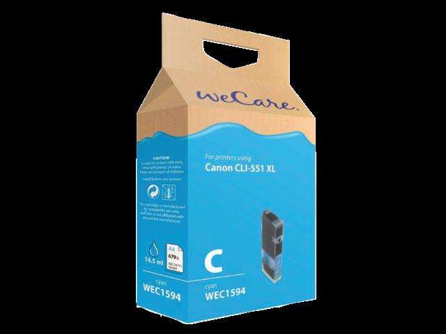 Inkcartridge wecare canon cli-551xl blauw