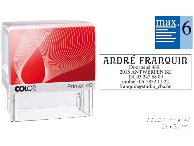 Tekststempel colop printer 40 +bon 6regels frans 59x23