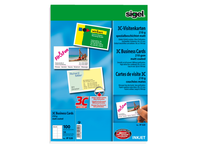 Visitekaartjes sigel 210gr fotokwal inkjet wit