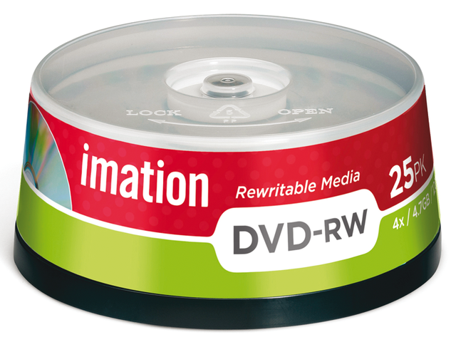 Dvd-rw imation 4x4.7gb spindel 25stuks