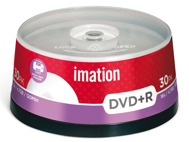 Dvd+r imation 16x 4.7gb printbaar spindel 30stuks