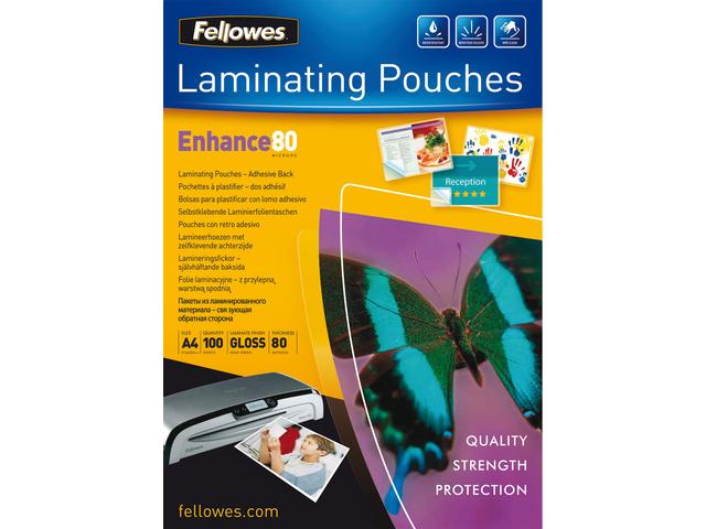 Lamineerhoes fellowes a4 zelfklevend 2x80micron 100stuks