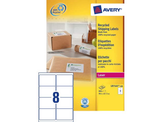 Etiket avery lr7165-100 99.1x67.7mm recycled wit 800stuks