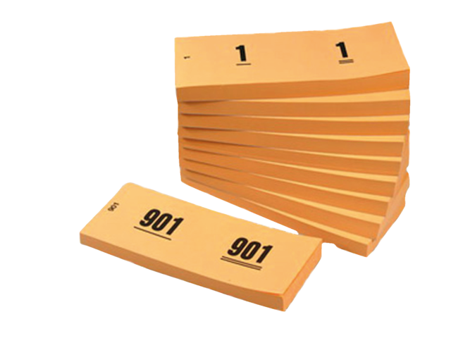 NUMMERBLOK 42X105MM NUMMERING 1-1000 ORANJE 10STUK