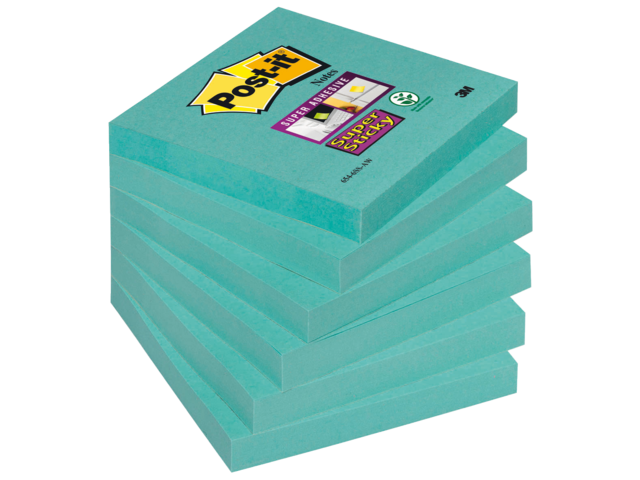 Memoblok 3m post-it 654-ssaw super sticky 76x76mm aquawave