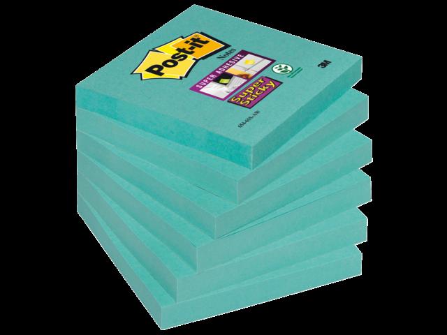 Memoblok 3m post-it 654-ssaw super sticky 76x76mm aquawave